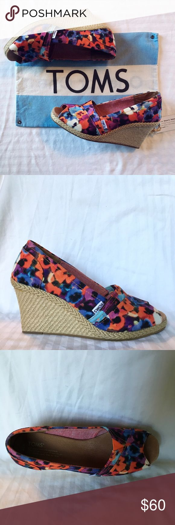colorful floral toms wedges floral toms wedges. perfect for spring. bag included. TOMS Shoes Wedges