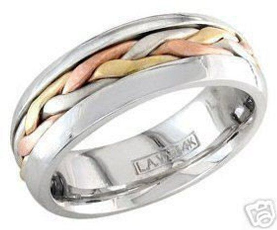 aeb88b53d2a55 14k tri color gold mens 7mm link braided wedding band in 2019 ...