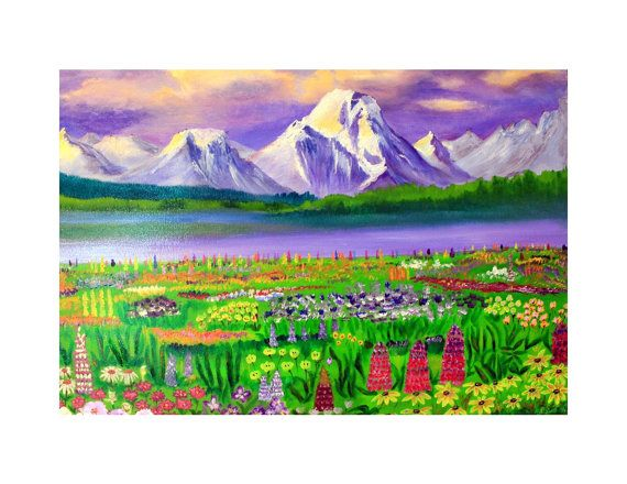 Glaciers and Wildflowers by RossanaKelton on Etsy