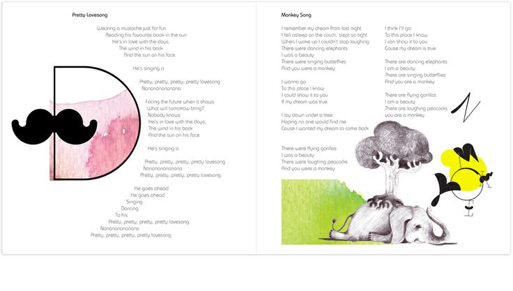 Illustration for tracks: Pretty Lovesong and Monkey Song Album: Friendly Fools by Marjit Vinjerui