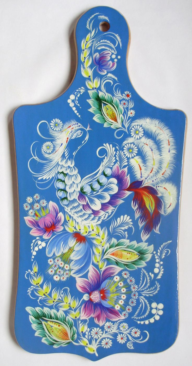 WHITE BIRD Cutting Board Ukrainian Petrikov Painting Lacquer Hand Painted. $25.00, via Etsy.