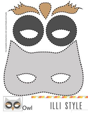 owl mask printable template // birthday party masks - illistyle.com