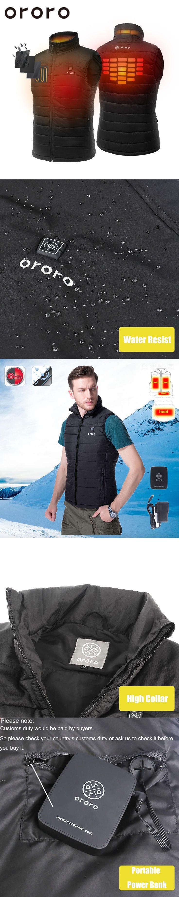 ORORO Black Mens Winter Heated Sleevless Vest Coat Windbreak Resistance Fleece Heated Warm Jacket Vest Heating Jacket