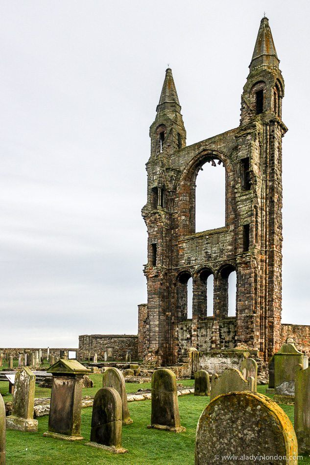 Beautiful ruins of St Andrews Cathedral in Fife, Scotland