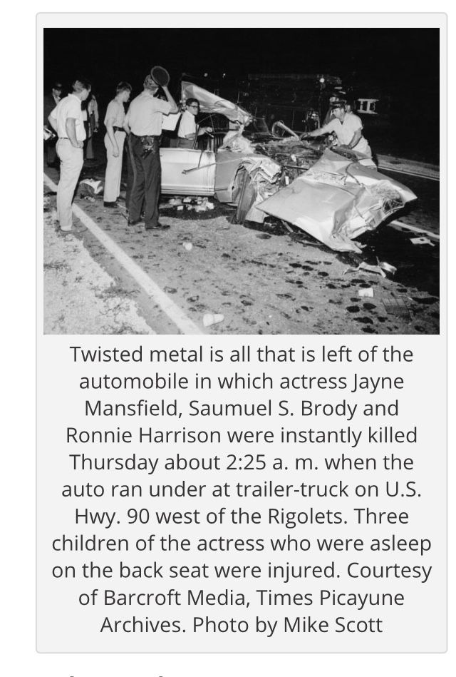 Hair Wig To What Was Left Of The Car Jayne Mansfield Died Her Wig