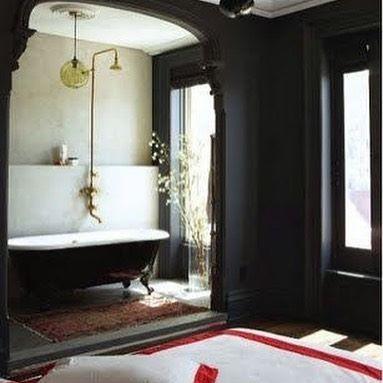 Relaxing hot BATH #interiordesign by Roman&Williams#decoinspiration#pinterest#bathroom#blackwall#chicinteriors#timeless
