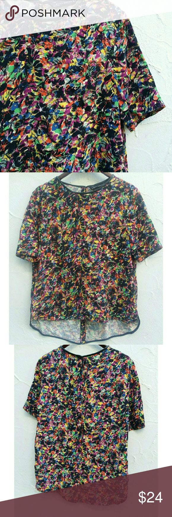 Zara Multi color Floral blouse Leather Collar L Very cute floral blose. Black faux leather collar. Full Button down back. No flaws Zara Tops Blouses