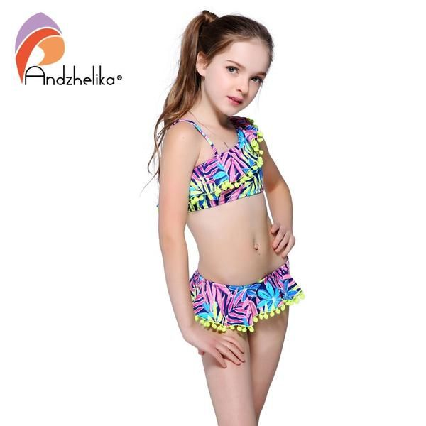 883d42fc9 Andzhelika Bikini Children's Swimwear Ball Cute Lotus Leaf Dress Two Piece  Kid One Shoulder AKZ47 #Discounts #BestPrice