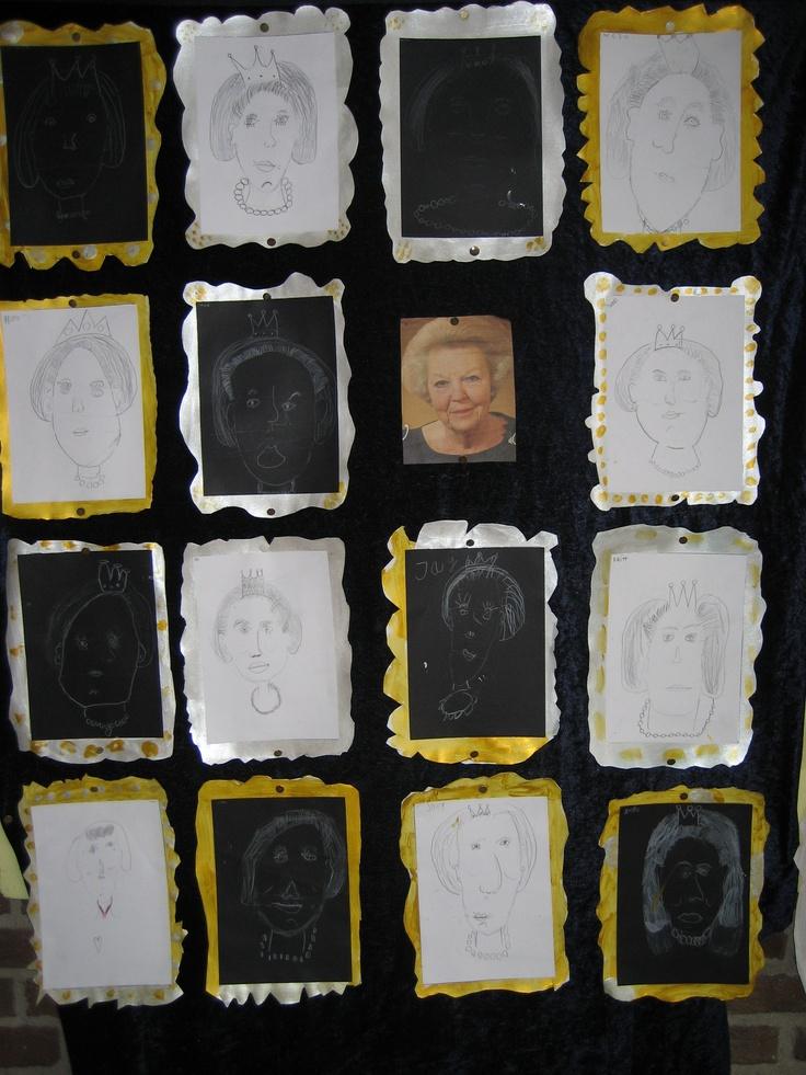 groep 3 / 4. Tekenles portret koningin  verhoudingen op bord tekenen.  met wit potlood op zwart papier, met tekenpotlood op wit papier, lijstje eromheen laten maken en klaar.