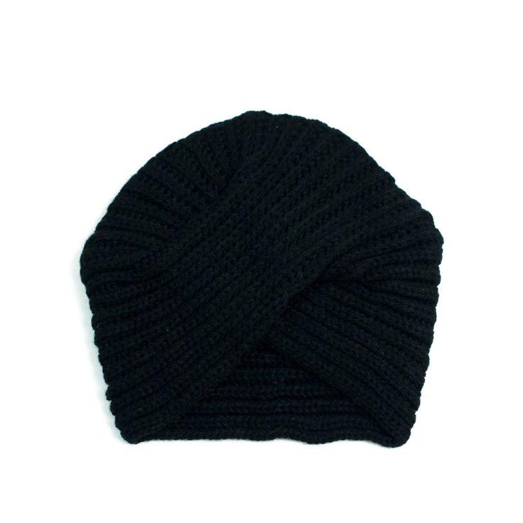 Caciula tricotata tip turban de culoare neagra FPL108586CMD - Accesorii fashion - Berete si caciuli femei