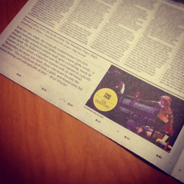 The Globe & Mail deemed Rachel Zeffira's 'The Deserters' one of their essential tracks!