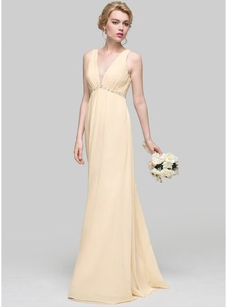 A-Line/Princess V-neck Floor-Length Chiffon Bridesmaid Dress With Ruffle Beading Sequins Bow(s)