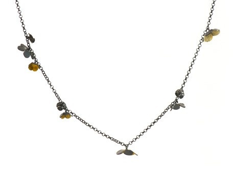 'Twiggy Weed necklace' by Nina Ellis Oxidised silver, enamel paint Available online and in store http://egetal.com.au/store/product/NRE401