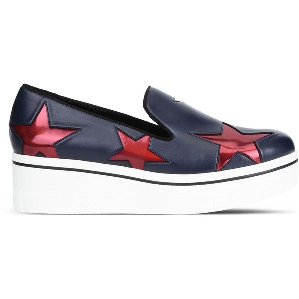 Stella Mccartney Navy Binx Ruby Star Loafers ($291) ❤ liked on Polyvore featuring shoes, loafers, blue, navy loafers, loafer shoes, stella mccartney shoes, chunky loafers and slip on shoes