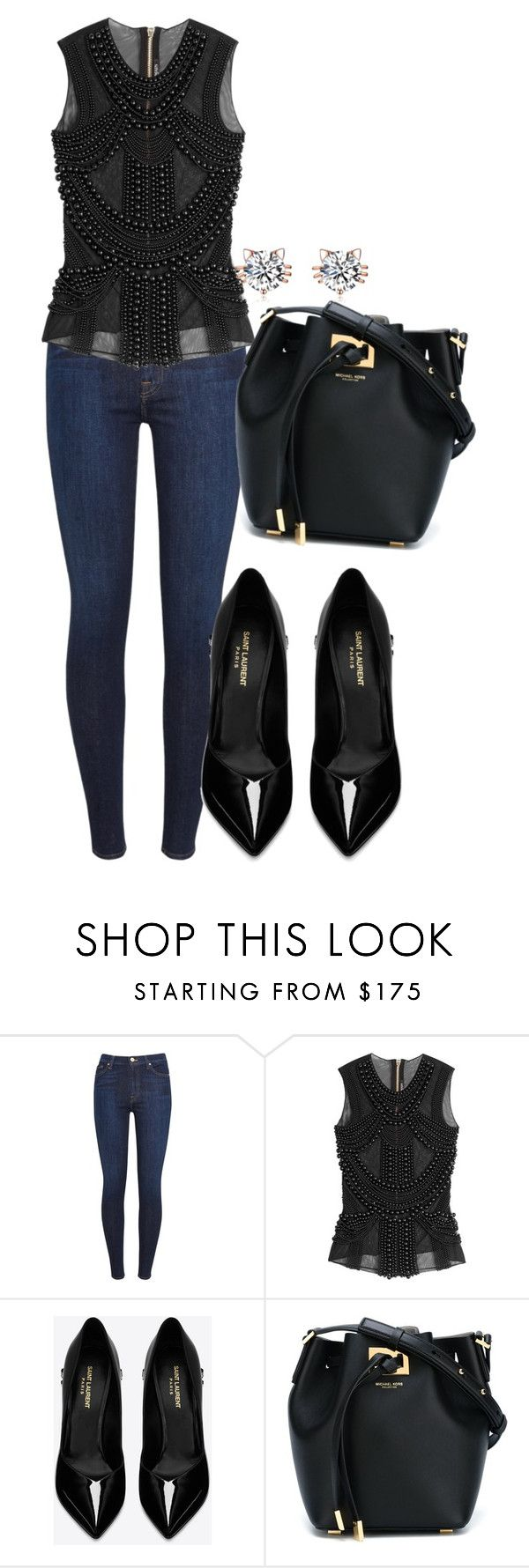 """Untitled #461"" by dreamer3108 on Polyvore featuring 7 For All Mankind, Balmain, Yves Saint Laurent and Michael Kors"