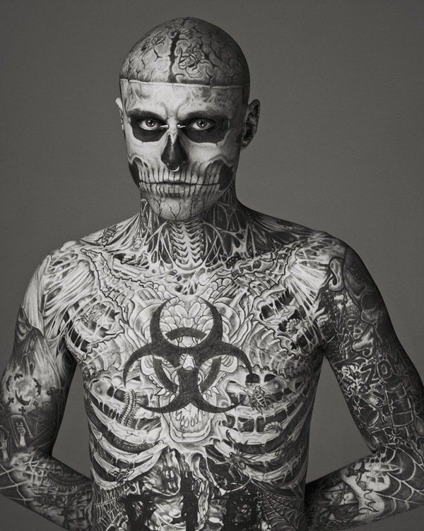 Macabre Tattoos show us how fashion can be as boundless as possible by  featuring ''Zombie Boy'' Rick Genest as the new face of MUGLER fashion  house.