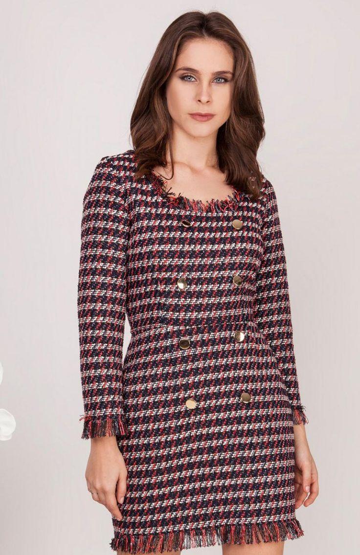 Milu by Milena Płatek MP438 sukienka czerwona Efektowna mini sukienka, wykonana z ciekawej kolorowej tkaniny, piekna i wyrazista sukienka