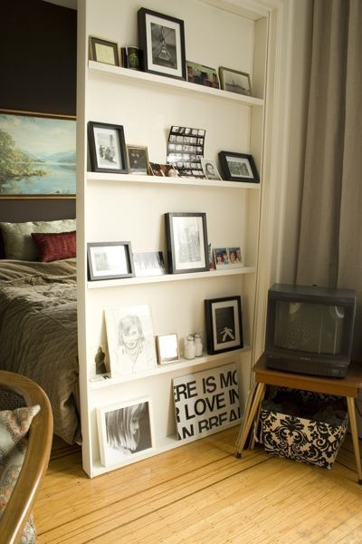 Great Divider For Bedroom. Seems Less Cluttered Than Bookshelves And More  Homey With Pics Of