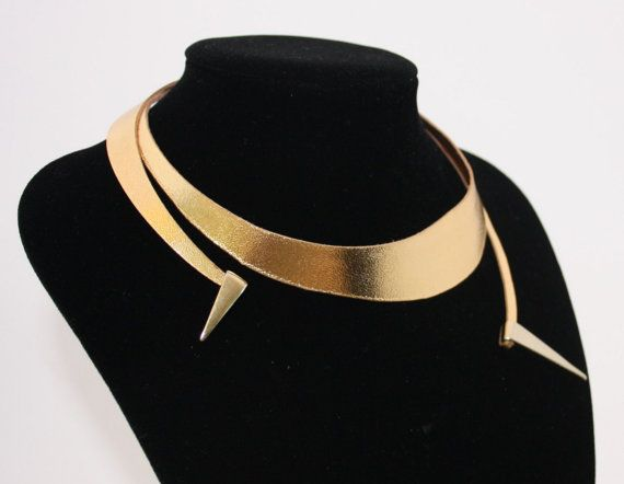 Gold leather wrap neckpiece  the only one of its kind by Deccoangel