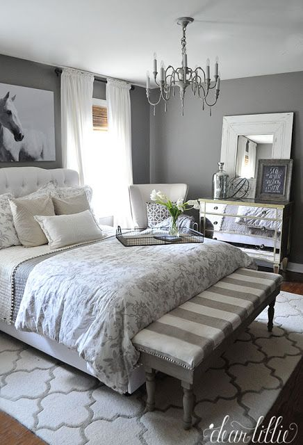 We were able to add so many finishing touches to our gray guest bedroom at @homegoods like the horse picture, throw pillows, the tray, and many of the other accessories. (sponsored pin)