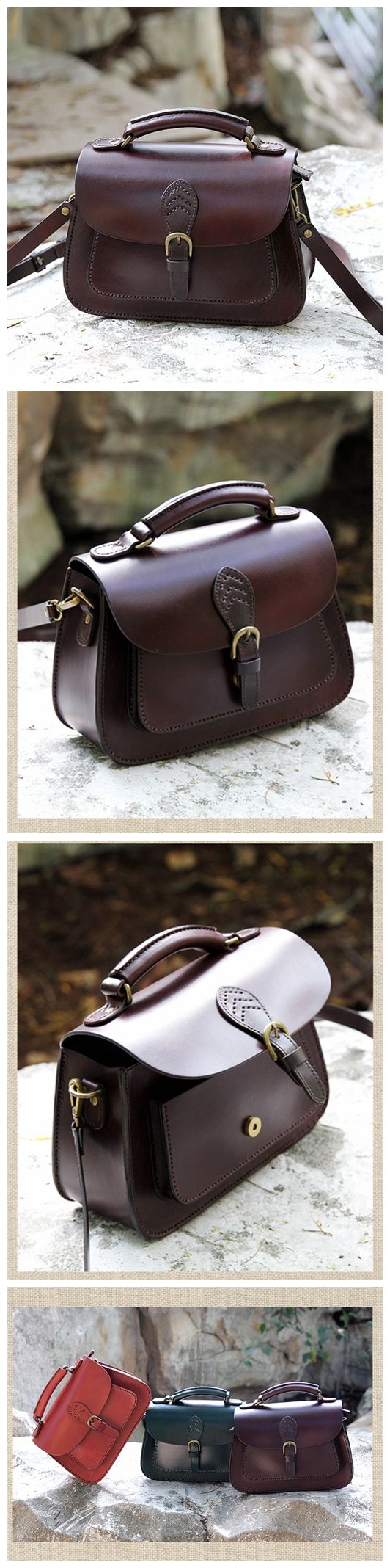 LISABAG--Handcrafted Leather Messenger Handbag Leather Shoulder Bag Small Satchel in Coffee AK04