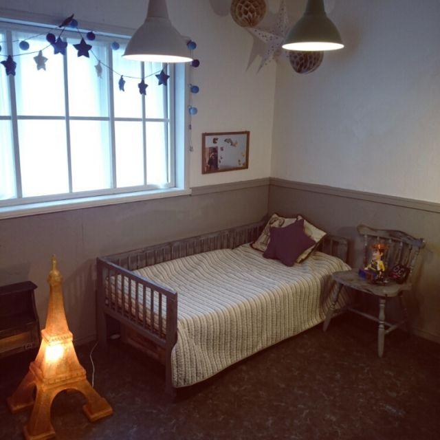 mikidさんの、ベッド周り,アンティーク,子供部屋,DIY,IKEAキッズベッド,小学生男子,のお部屋写真
