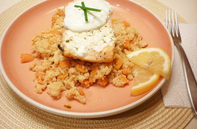 Ricetta | Salmone al limone al forno con cous cous alla birra    #TalesFromTheFood #foodie #recipe #cooking #piattounico