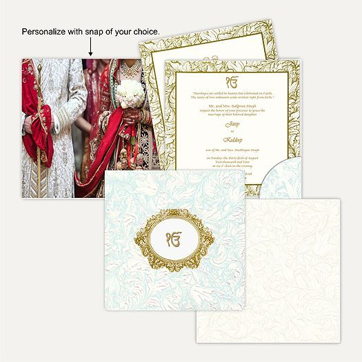 This card is made out of an Ivory (cream) paper board with matching mailing envelope. Card front has self embossed floral design all over beautiful spot lamination effect in sea blue shade. Gold plated Ek Onkar sticker placed in oval circle surrounded by floral design in gold foil printing at center of the card gives amazing look. ‪#‎SikhWeddingCards #wedding