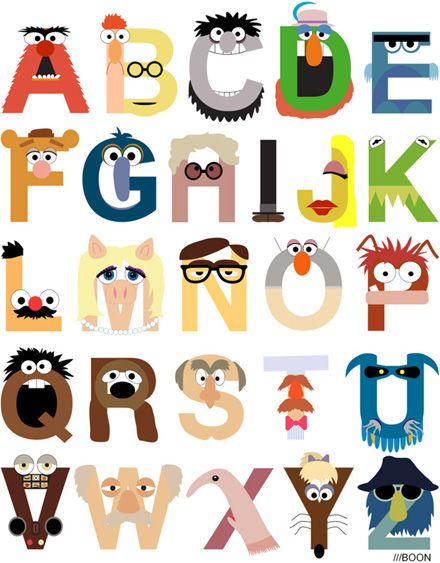 Muppetypography: Idea, Art Prints, Alphabet Posters, The Muppets, Mike Boone, Baby, Design, Kids Rooms, Muppets Alphabet
