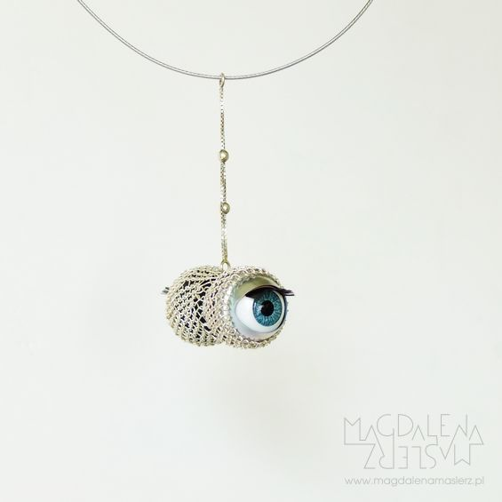 magdalena maślerz - svetovid: a necklace made of doll eyes, fine and sterling silver and jeweler string. 2014