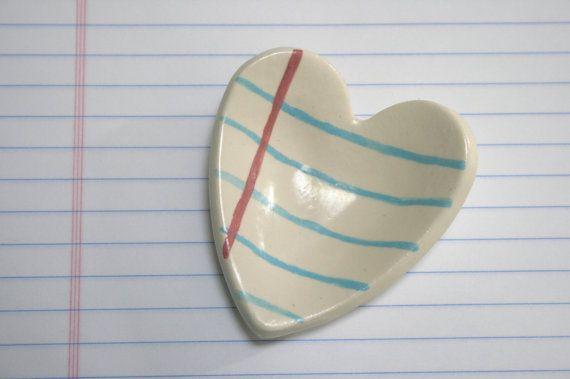 Heart Notebook Paper Ceramic Tray - MangoTreeCeramics