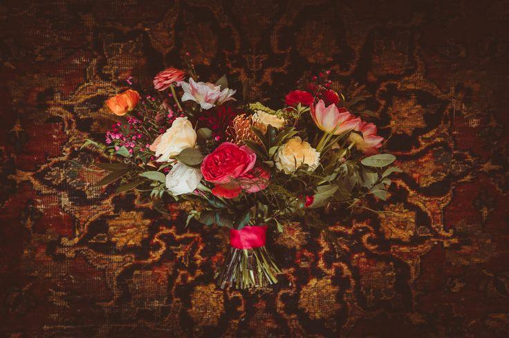Elegant Fuchsia bridal bouquet; boho wedding at Smog Shoppe in Los Angeles; PHOTOGRAPHY by Joel + Justyna Bedford;