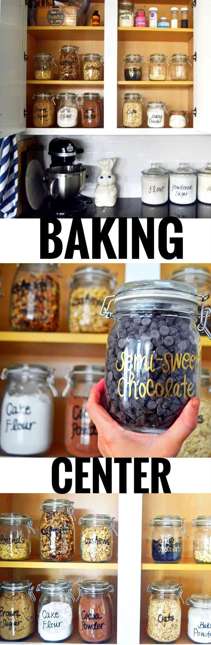Baking Supplies Storage and Organization. Ideas on how to create the ultimate baking center in your kitchen plus a list of baking ingredients. http://www.modernhoney.com