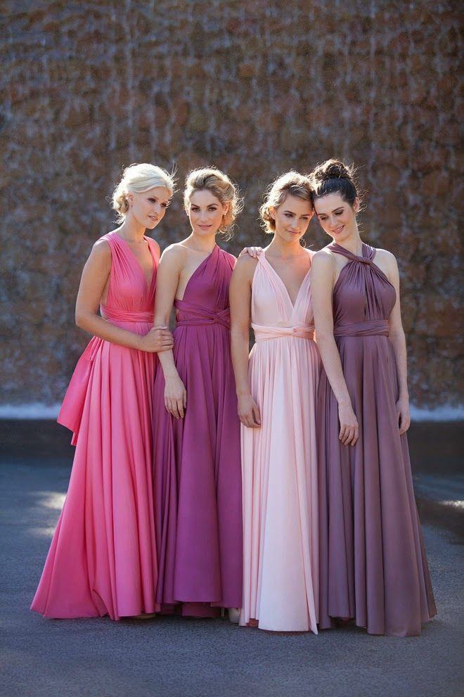I love this idea. Coordinating colors with a convertible dress. Would be best with fewer bridesmaids.