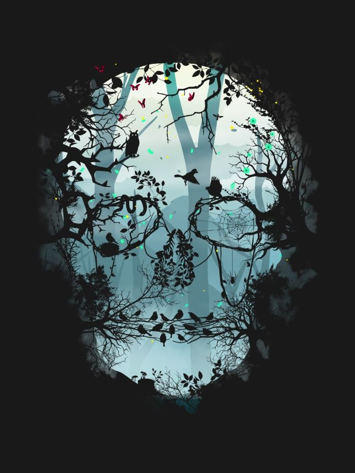 Dark Forest Skull Art Print by Sitchko Igor | Society6