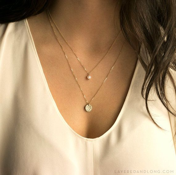 Dainty Pearl Necklace Simple Small Pearl on by LayeredAndLong