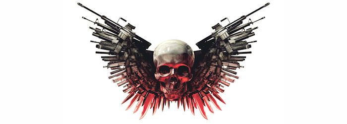 The Expendables Weapons Hd Ipad Air Wallpaper Download: EXPENDABLES Skull Logo Banner
