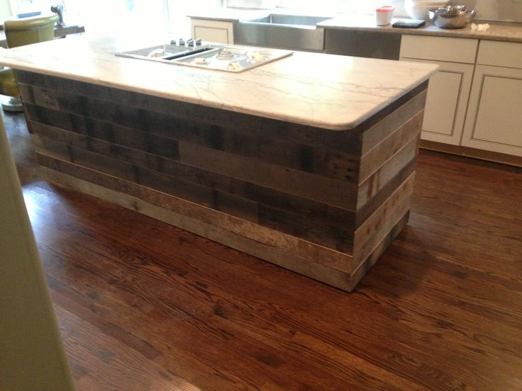 Tongue and groove reclaimed barnwood on a kitchen island. Image by Reclaimed  Lumber and Beams - 44 Best Images About Our Portfolio On Pinterest Mantels