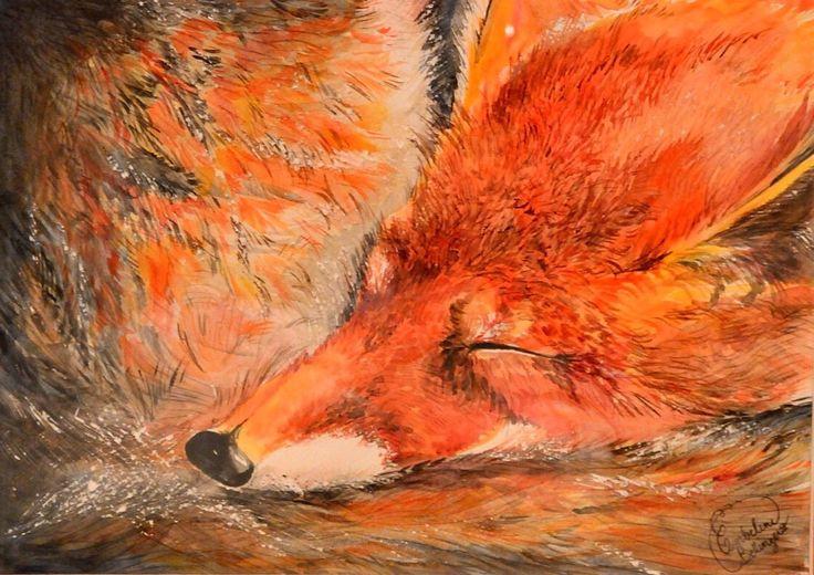 Encre de Chine & aquarelle  #dessin #peinture  #renard #fox