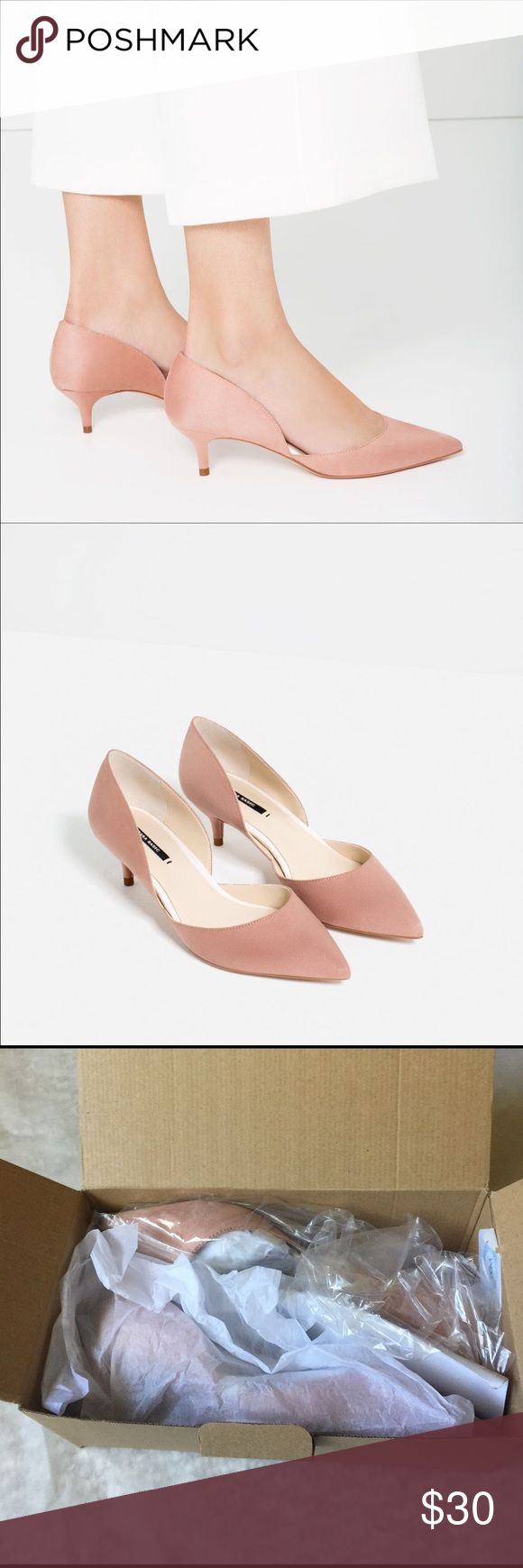 NWT ZARA BLUSH PINK KITTEN HEELS Brand new with tags! New, never worn. Sold out online! Zara Shoes Heels