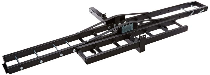 Masterbuilt HMXCR HITCH-HAUL Dirt Bike Carrier. Mounts into a 2 inch receiver (maximum capacity 300 pounds). Adjustable for large to small bikes. Easy to use loading ramp. Black powder-coat finish. Steel platform and ramp.