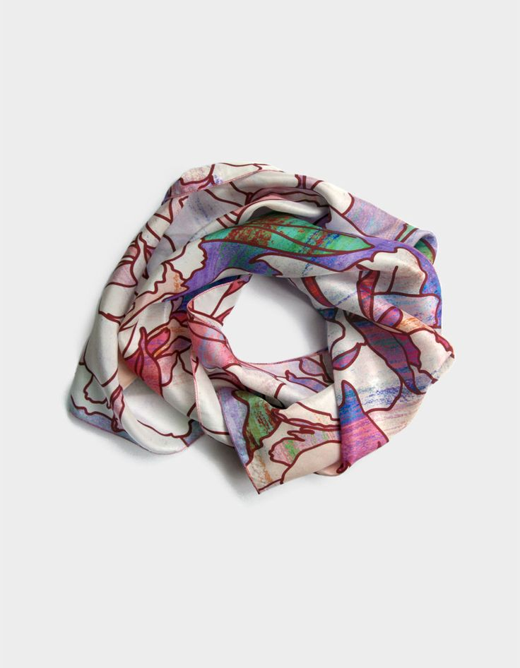 New to ImaPico on Etsy: Ladies scarf pure silk white blue and light pink scarf long floral scarves printed on silk elegant gift ideas for women gift for mum uk (46.00 GBP)
