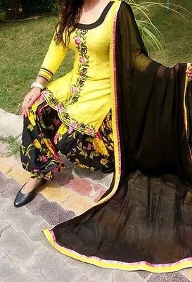 Black & yellow patiala salwar kameez