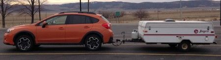 Towing a small tent trailer with a Subaru XV Crosstrek.