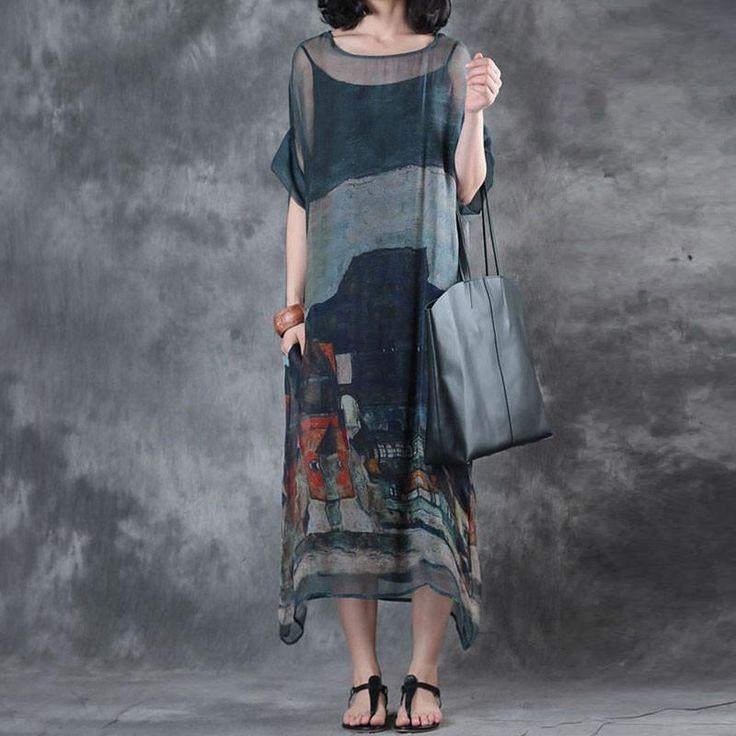 Printing Summer Short Sleeves Round Neck Loose Dress