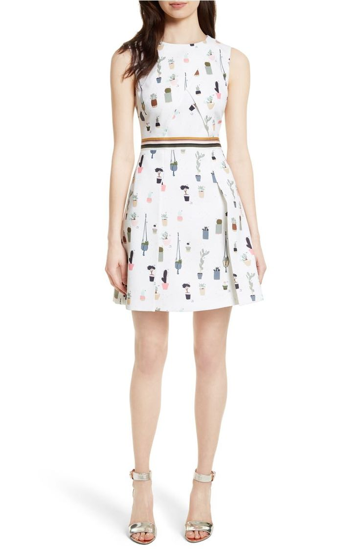 Ted baker london tetro sleeveless fit flare dress in ivory white and plants pattern