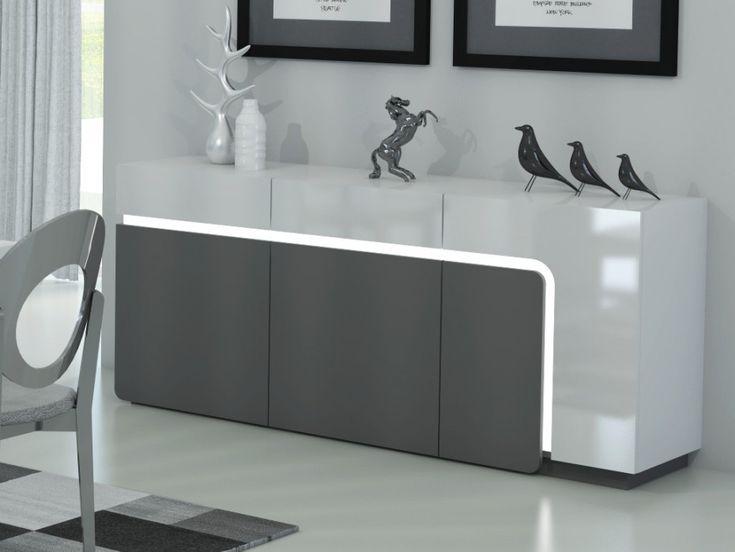 Buffet ODEAN 3 portes & 2 tiroirs LEDs - Gris & Blanc prix Buffet Vente Unique 499.99 € TTC prix constaté 623 €
