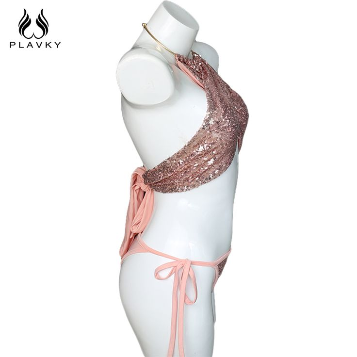 Only $32.46 - Nice PLAVKY Sexy Halter Bling Sequin Bikini 2017 Summer High Neck Bandage Bathing Beachwear Suit Swimwear Swimsuit Women Biquini - Buy it Now!