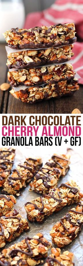These Dark Chocolate Cherry Almond Granola Bars make great healthy snack and are easily customizable. Plus, they're way cheaper than store-bought bars! All clean eating ingredients are used for these healthy snack bars. Pin now to make later.