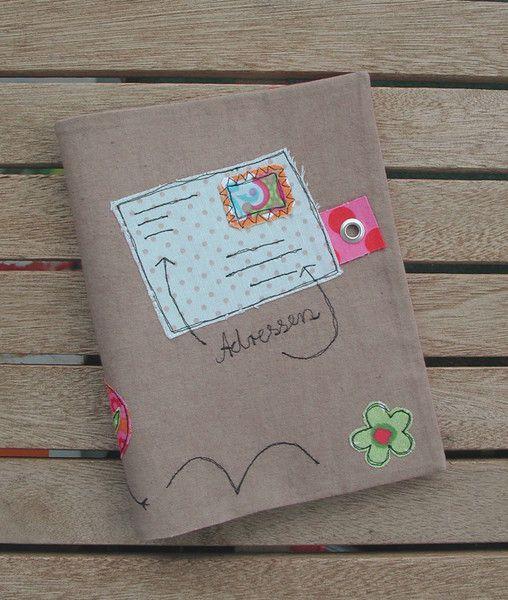 Büchertaschen - Buchhülle mit Wunschname - Adressbuchhülle - ein Designerstück von occhiello bei DaWanda